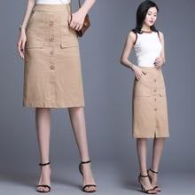 цены на 2019 New Spring Autumn Woman Plus Size High Waist Elegant Office Lady A Line Skirt Knee-length Button Pocket Casual Midi Skirt в интернет-магазинах