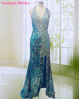 Sparking Sequin Evening Dresses Hot Sexy Rhinestone Side Slit Open Back Long Woman Formal Evening Gowns robe de soiree longue