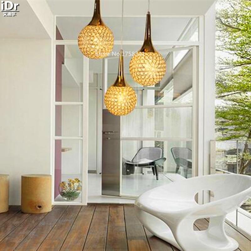 Gold K9 crystal lamp modern minimalist art of creative living room bedroom dining hallway Chandeliers OLU-0139