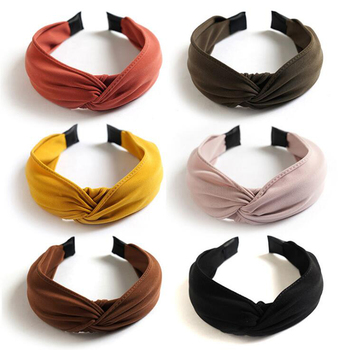 New Arrival Women's Headband Wholesale Classic Solid Hairband Turban Cross Knot Hair Accessories High Quality Hoop - discount item  25% OFF Headwear