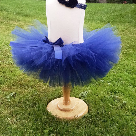 Lovely Girls Blue Crochet Tutu Kjolar Baby Fluffy Tulle Ballet Pettiskirts med Ribbon Bow och Flower Headband Kids Party Tutus