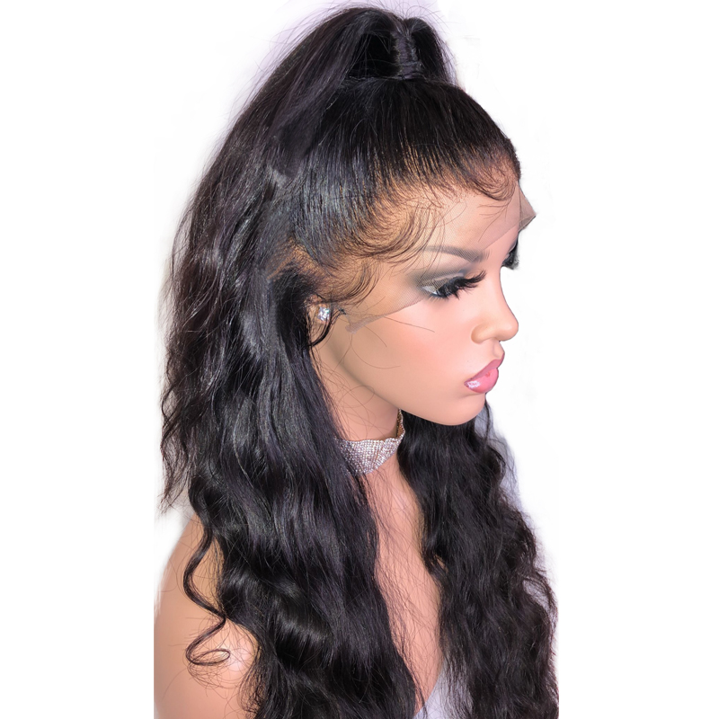 HD Transparent 360 Lace Frontal Wig Pre Plucked With Baby Hair Brazilian Body Wave Lace Front Human Hair Wigs For Women 150%(China)