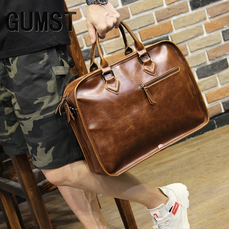 GUMST Brand Crazy Horse PU Leather Men Briefcase Vintage 14 Inch Business Laptop Handbag Fashion Messenger Shoulder Bag Man