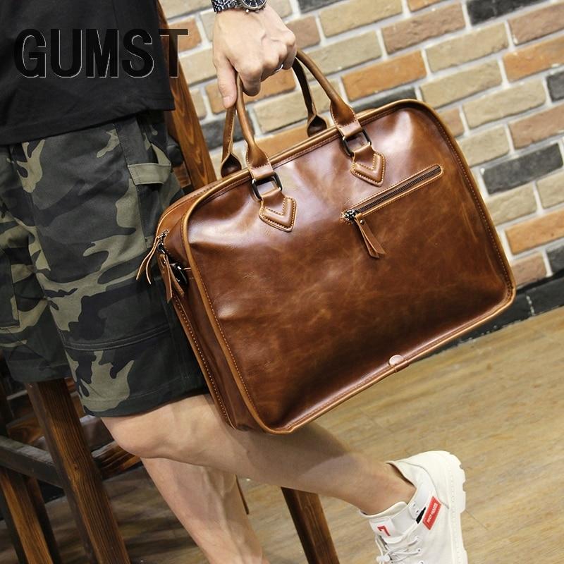 GUMST Brand Crazy Horse PU Leather Men Briefcase Vintage 14 Inch Business Laptop Handbag Fashion Messenger Shoulder Bag Man