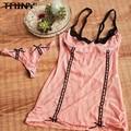 TAINY New Women Sexy Underwear Embroidery Spaghetti Strap Summer Net Yarn Lace Nightgowns Nightdress+thongs