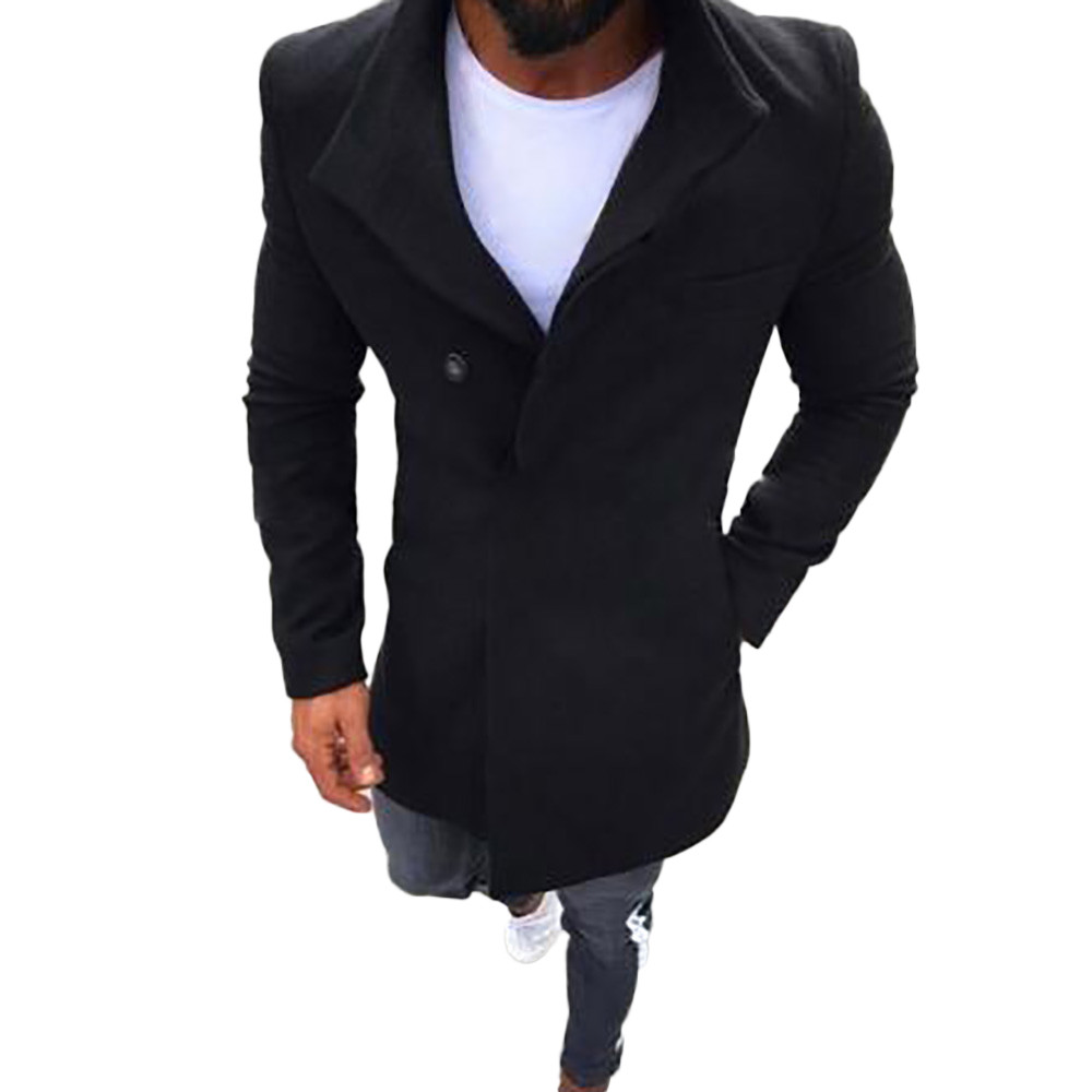 Windbreaker-Jacket Thick-Soled Men's Slim Winter Solid Button Long Warm Quality