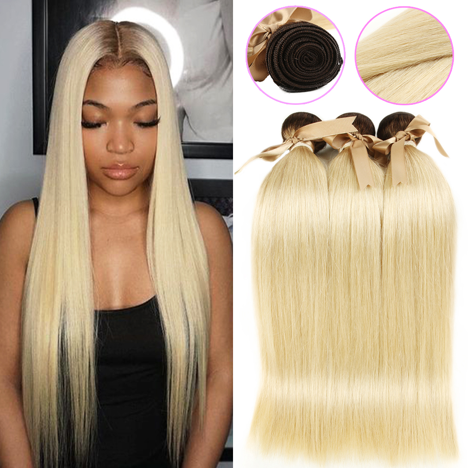 Black Pearl Dark Root Honey Blonde Ombre Hair Bundles T4/613 Malaysian Straight Hair 613 Bundles 100g Remy Human Hair image