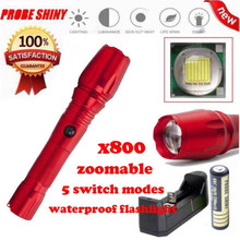 Cycling Bike Head Front Light Bicycle Light X800 XML T6 Zoomable Focus LED Flashlight Torch 5 Mode Light Lamp 18650&Charger F,24