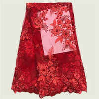 High Quality African Dress For Women French Tulle Lace African Lace Fabric Red Color Material French