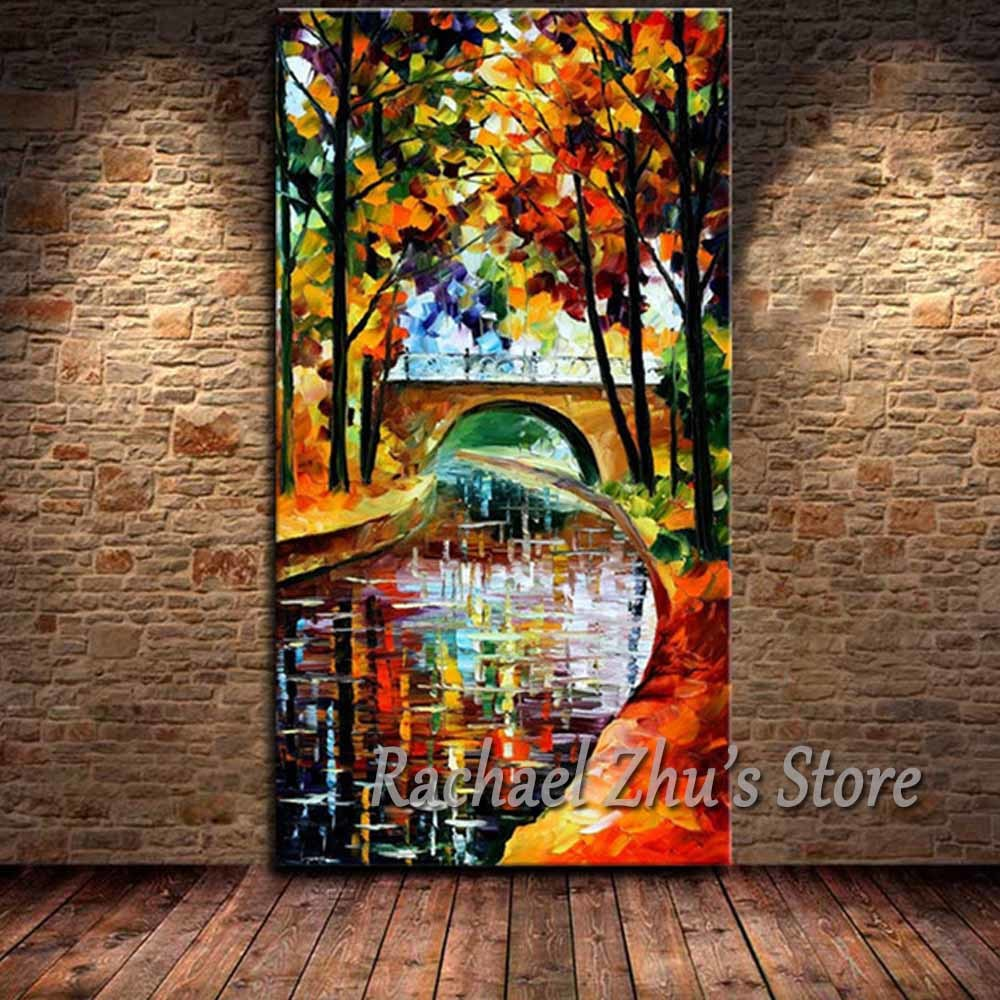 Hand Painted Abstract Palette Knife Bridge River Landscape Oil Painting On Canvas Wall Pictures Living Room Home Wall Art Decor