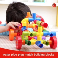 ONSHINE 72Pcs Children Marble water pipe plug match building blocks Tunnel plastic assemble blocks for Kids educational toys