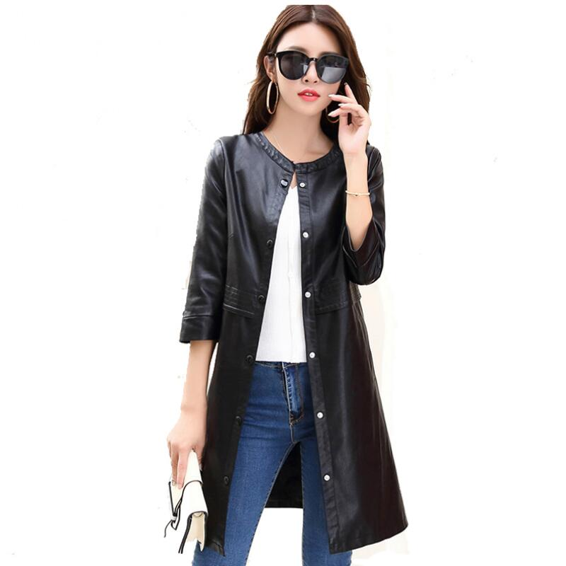2018 New Fashion Spring Long Women Leather Coat Single-breasted O-Neck Leather Jacket Women Casual Outerwear Brnad Clothing