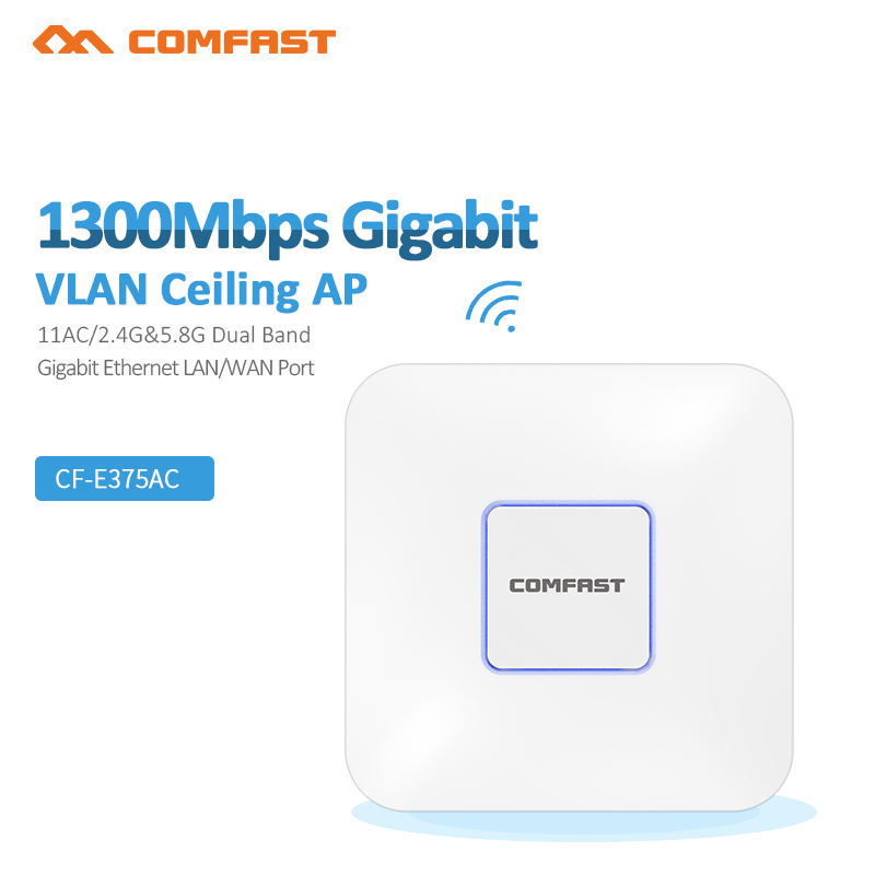 Comfast 1300M High Power Gigabit Dual band Dual Band Wireless Ceiling Wifi Vlan Gigabit WAN LAN Ethernet POE Port AP 48v poe dux adp 509 06 2001 509c industrial motherboard hfpp pic9 dual ethernet port 100