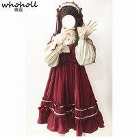 WHOHOLL Lolita Dress Sweet Rabbit Cute Japanese Kawaii Girls Princess Maid Vintage Gothic Cosplay Costumes Clothing Lace Red