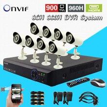 TEATE 8CH AHD Sistema DVR 960 H 8CH H.264 em tempo real de gravação CCTV DVR gravador NVR 8 pc 900TVL segurança ao ar livre câmeras à prova d' água