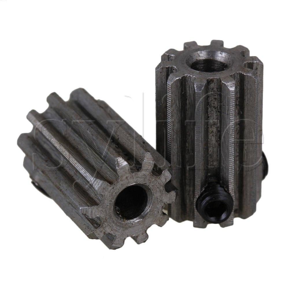 2pcs 12 Teeth 45 Steel Motor Metal Steel Gear Wheel Top Screws 5mm Hole Silver