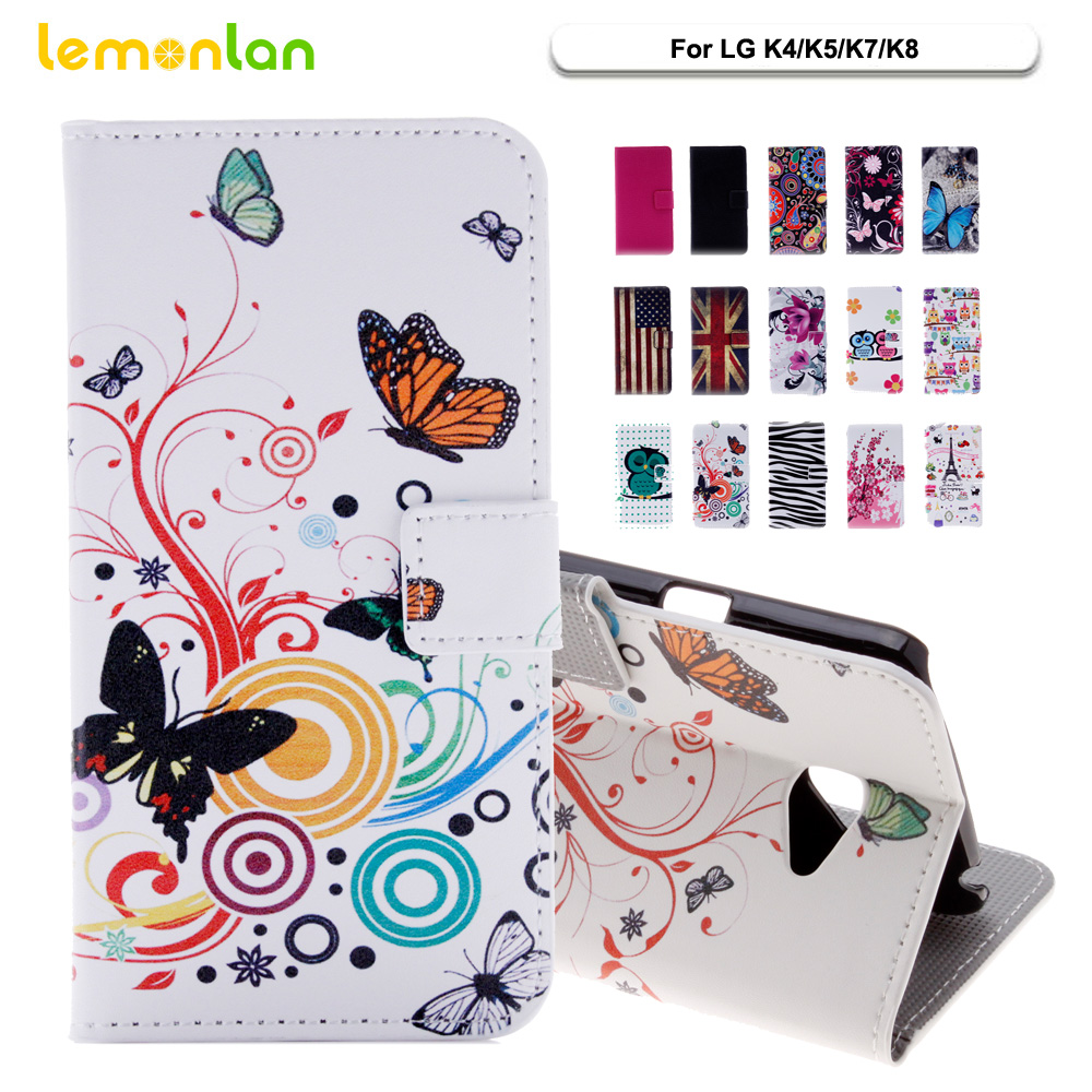 Lemonlan For LG K8 Lte 5.0 Phone Case Fashion Owl Plum Flip Wallet PU Leather Stand Cover For LG K8 K7 K5 K4 K350 LTE Shell Bag