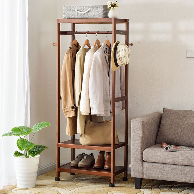 LK564 Creative Matsuki Clothes Hanger Bedroom Coat Floor Rack Simple Wooden  Clothes Storage Rack Modern Wardrobe