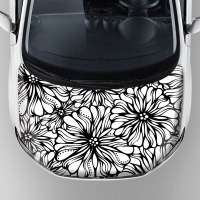 Online Website Sale Flower Design Car Decal 3m Material Car Sunroof Sticker For Hood Bonnet With