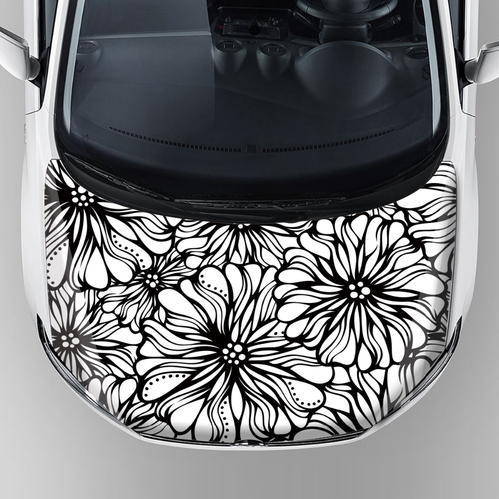 factory directly sale flower graphic car wrap sticker custom car hood bonnet stickers auto protection vinyl wrap film free ship
