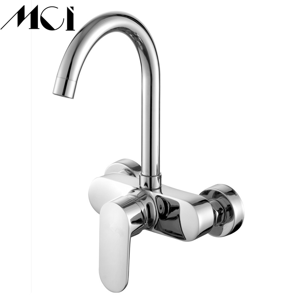 Wall Mounted Kitchen Faucet Single Handle Chrome Hot And Cold Kitchen Mixers Kitchen Sink Tap 360 Degree Double Holes Mci-D039