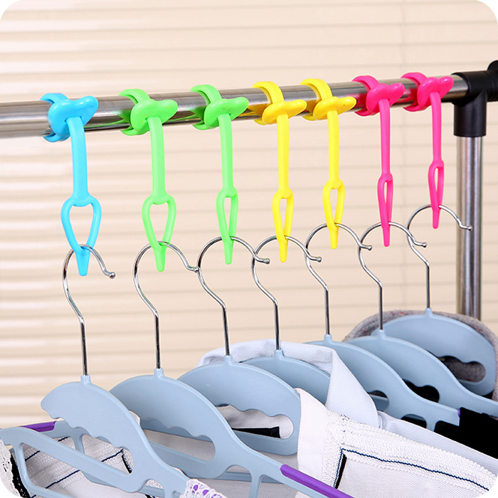 4pcs/lot Multifunctional Clothing Hanger Windproof Buckle Zwm Fastener Windproof Hook Lock Mounted Anti Falling Clothes Rack