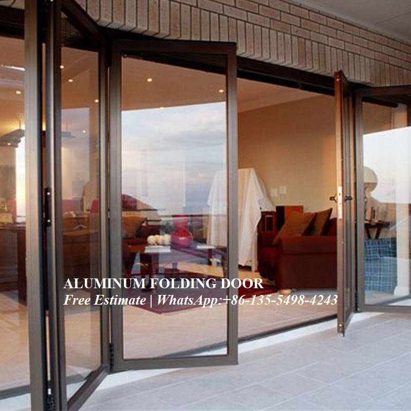 Aluminum Frame Interior Tempered Folding Glass Door,Customized 3 Or 4 Panes Double Glazed Aluminum Profile Glass Bi-folding Door