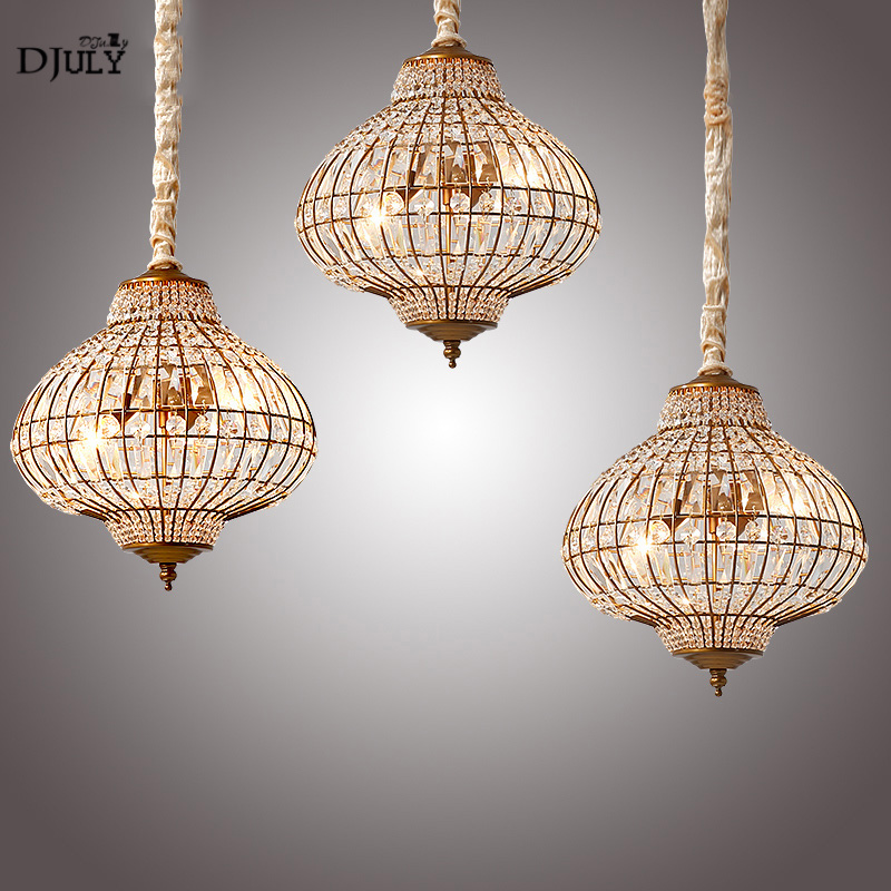 American Crystal Lantern Pendant Lights Vintage Home Deco