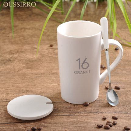 OUSSIRRO Creative ceramic cup large-capacity glass mugs contracted couple spoon coffee cup milk cup custom cup with cover