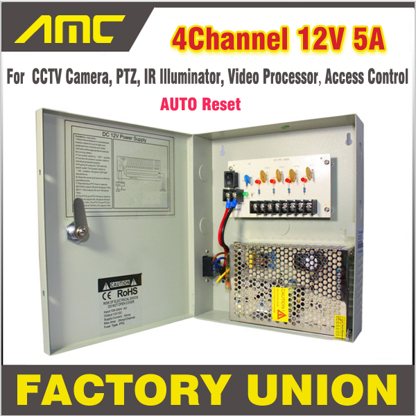 ФОТО CCTV Power Box 4 Channel 12V 5A Support PTZ IR Illuminator Access Control for 4CH DVR CCTV Camera Power Supply