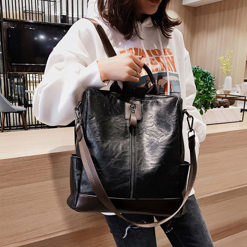 Image 5 - Fashion Women High Quality Leather Backpack Multifunction Backpack For Female Big Bookbag Anti Theft Travel Bag Sac A Dos XA279H-in Backpacks from Luggage & Bags