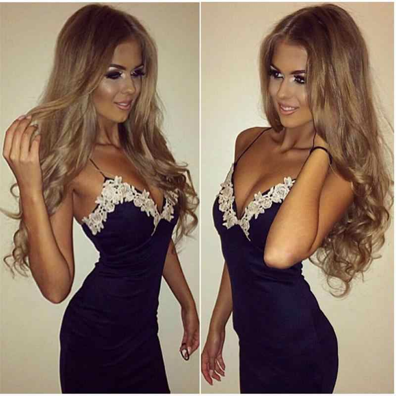 Sexy Women Bodycon Strappy V Neck Floral Lace Cocktail Party Short Dress Spring Autumn Spaghetti Strap Pencil Blue Dress