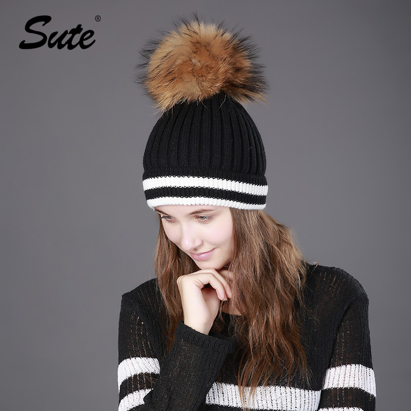 Sute Women's winter hat crocheted hat Women's real fur hat Keep warm pom  fox fur pompom solid colors cap stripe wool hats M-354