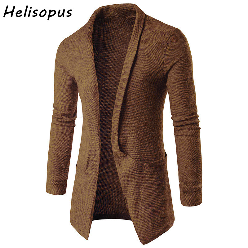 Helisopus 2020 Autumn Spring Men's Casual Long Sleeve Knitted Cardigan Sweaters With Pocket Long Outwear Coat