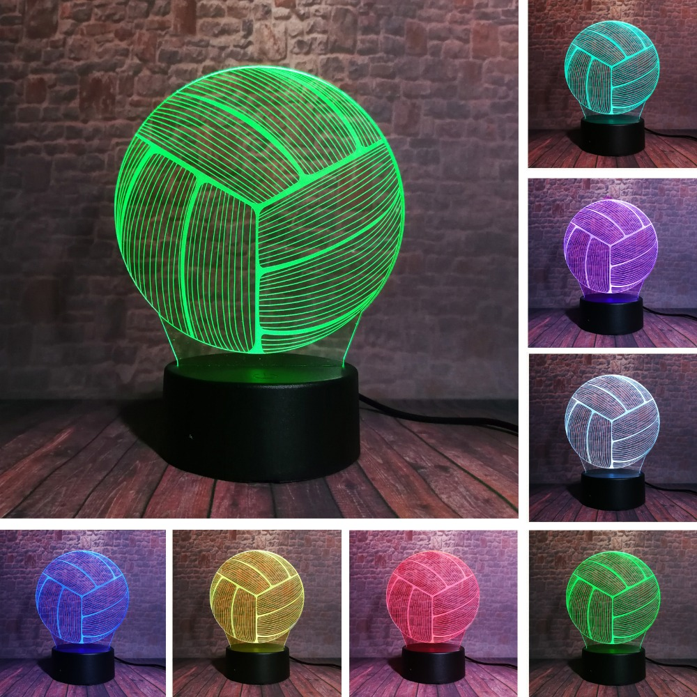 2019 New Sports Volleyball 3D RGB LED Night Light 7 Color Change Desk Sleeping Lamp Child Kids Xmas Birthday Gifts For Athlete