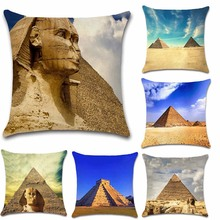 World famous building scenery Egyptian pyramids photos Cushion Cover decoration for home sofa chair pillow case friend kids gift