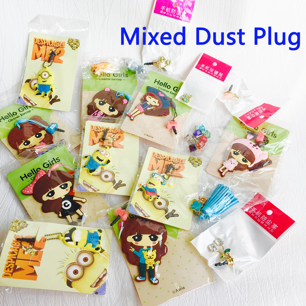 3.5mm earphone jack phone accessories cute mixed 6 designs dust plug for iphone sweet models for mobile phone gadgets