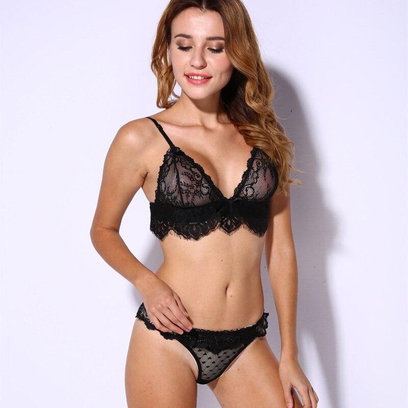0b797f2c7816c Lace Bra Set Unlined Bralette Bikini See Through Sexy Triangle Bra Wireless  Brassiere Suit Fashion Intimate Underwear-in Bra   Brief Sets from Underwear  ...