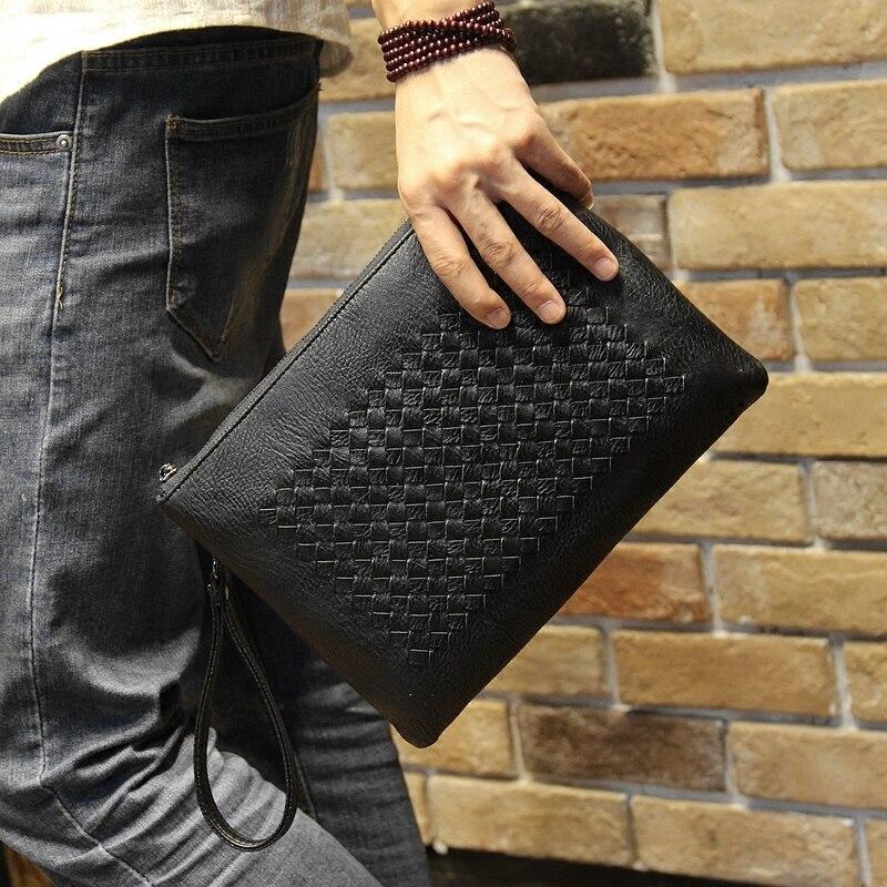 Tidog Puro tecelagem manual de mão masculina saco maleta de couro macio saco de embreagem