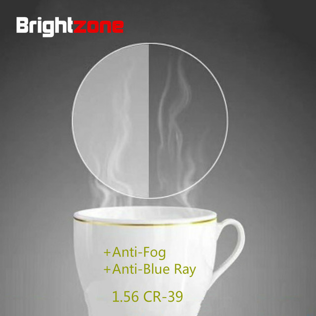 Brightzone New Arrival Anti-Blue Light Anti-Fog Two-in-one CR-39 Resin Spectacle Lenses Ultra-thin Myopia Plain Glasses Rx Lens