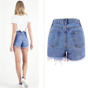 Image 2 - SupSindy kobiety krótkie dżinsy 2020 styl europejski Vintage wysokiej talii tassel Denim szorty luksusowe marki Slim Casual zgrywanie krótkie dżinsy
