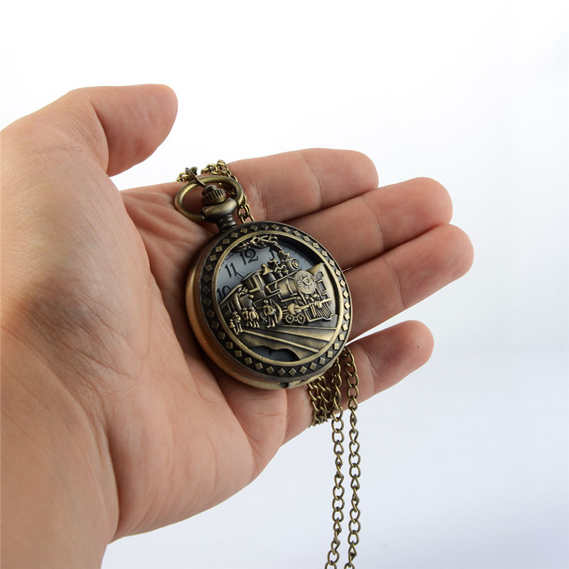 Retro Carved Train Steampunk Pocket Watch Openable Hollow Quartz Watch Classic Men Women Necklace Pendant Chain Clock