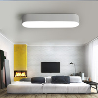 Modern Simple LED Ceiling Light Black White Office Meeting Room Hallway Ceiling Mounted Lamp Oval Creative Lighting Fixture