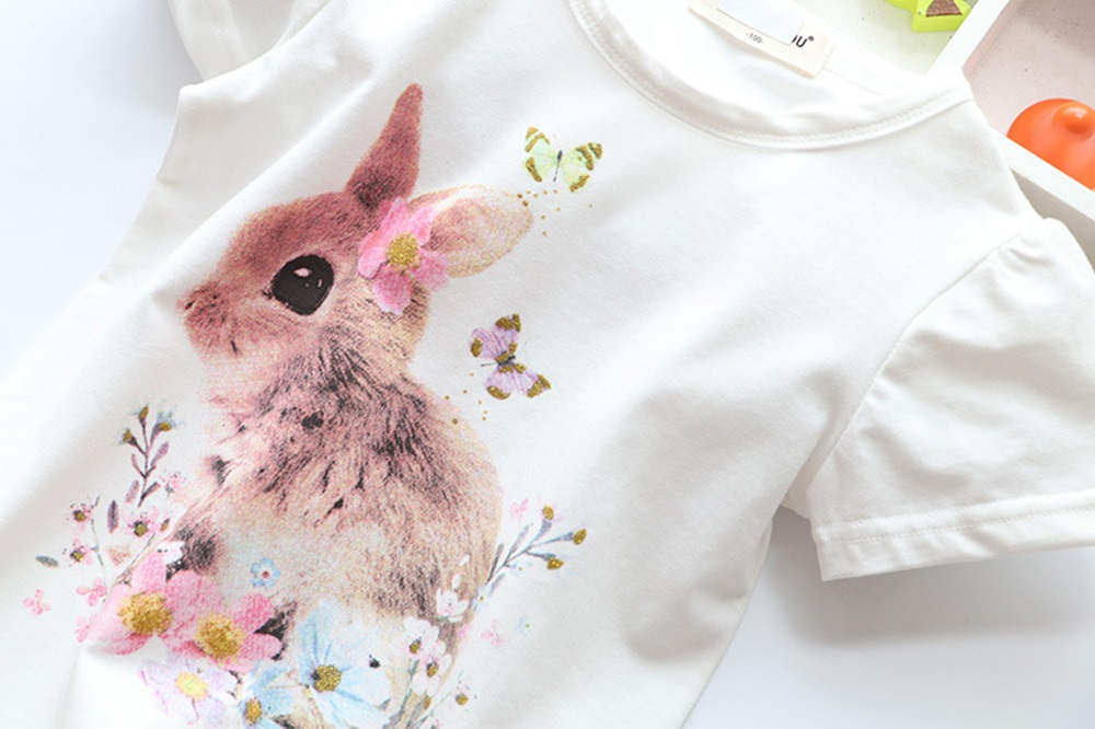 New Cotton Kids T-Shirt Children Summer Short Sleeve T-Shirts for Girls Clothes Cat Rabit Butterfly Baby T Shirt Toddler Tops 17