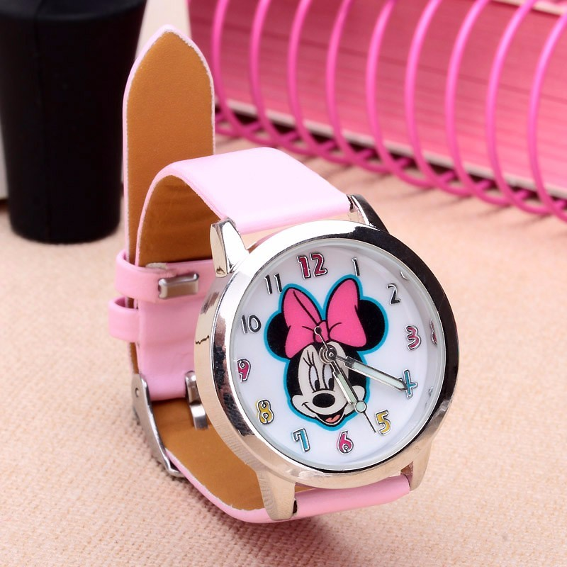 New Arrival Leather Cute Minnie Desgin Kids Watch Cartoon WristWatch Student Ladies Watches Clock Relogio Kol Saati