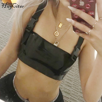 Hugcitar spaghetti straps patchwork PU slash neck sexy crop tops 2018 summer women fashion casual club camis lingerie top
