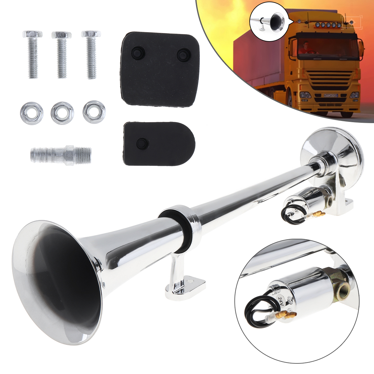 17Inch Chrome Plated ZINC Universal 150dB Super Loud Single Trumpet Car Air Operated Horn for Automobiles Truck Boat