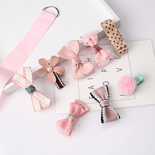 8pcs/set Multi-style Hair clips Ribbon Bow Flower Hairpins Sweet Barrettes Children Accessories Cute Baby Girls Headwear