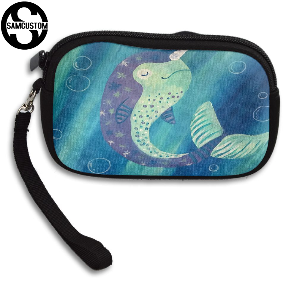 SAMCUSTOM Custom Narwhal in the sea 3D Print New Womens small purse male and female Small wallet Fashion Casual Girl Coin Purse