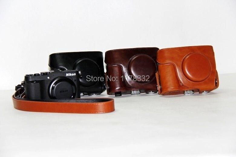 Leather Camera Case Bag Shoulder Strap for Nik@n P7700 P7800Coffee